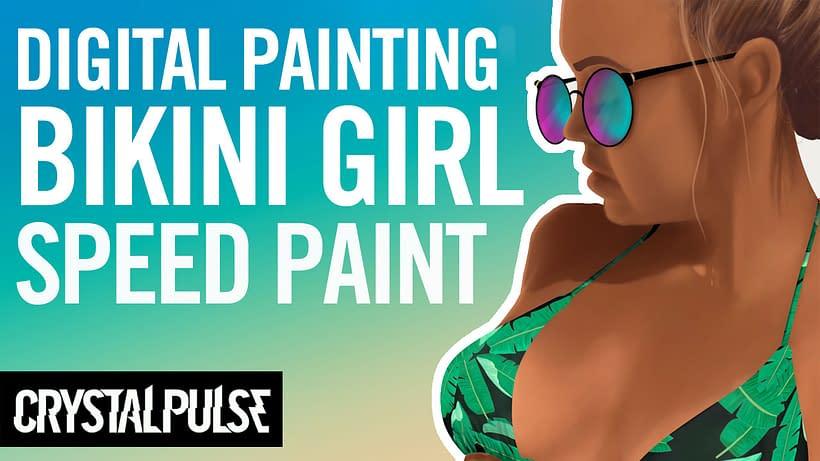 Speed Paint Bikini Girl Tahlia Skaines - Digital Painting Process in Photoshop