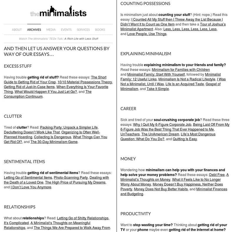 The Minimalists Start Here Page   crystalpulse.co.uk